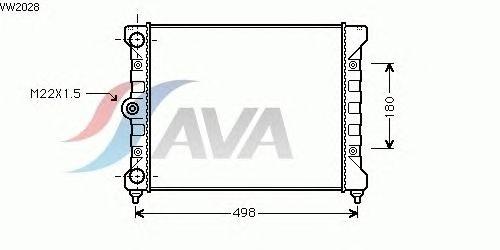 Радиатор, охлаждение двигателя AVA QUALITY COOLING VW2028