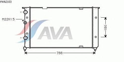 Радиатор, охлаждение двигателя AVA QUALITY COOLING VWA2103