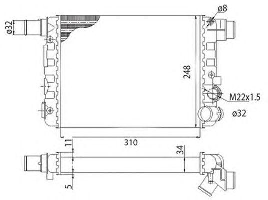 Радиатор, охлаждение двигателя MAGNETI MARELLI 350213500003