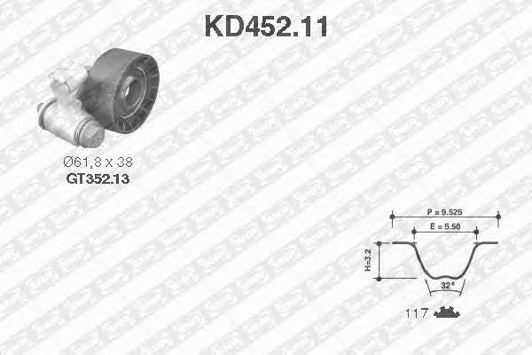 Комплект ремня ГРМ SNR KD452.11