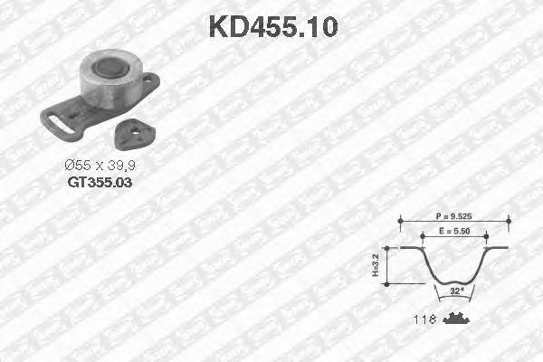 Комплект ремня ГРМ SNR KD455.10