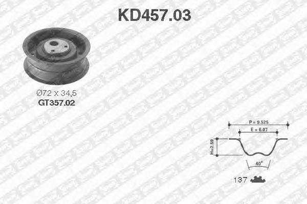 Комплект ремня ГРМ SNR KD457.03