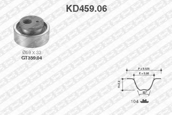 Комплект ремня ГРМ SNR KD459.06