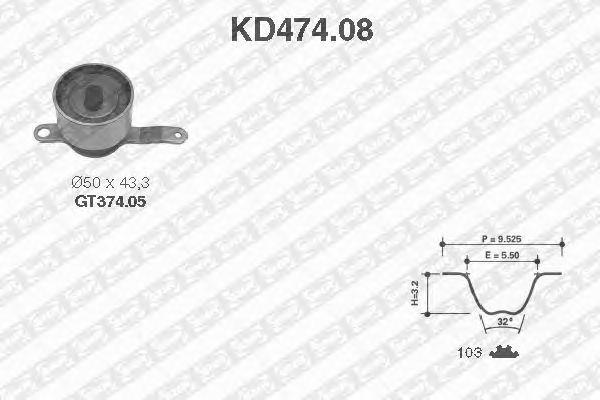 Комплект ремня ГРМ SNR KD474.08
