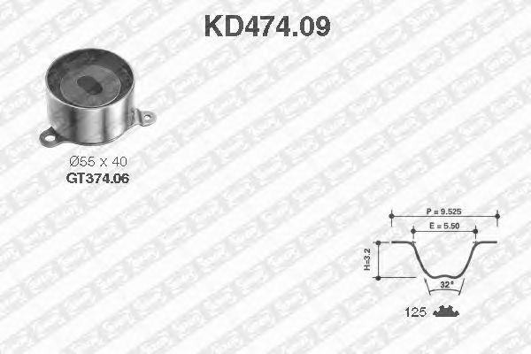 Комплект ремня ГРМ SNR KD474.09