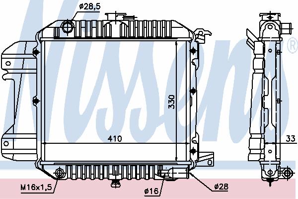 Радиатор, охлаждение двигателя NISSENS 61590
