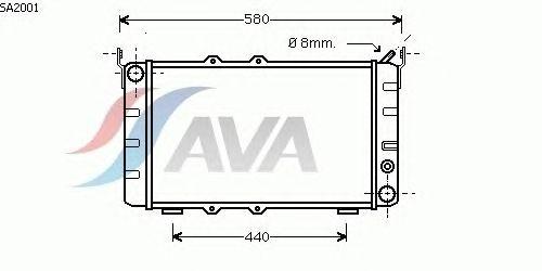 Радиатор, охлаждение двигателя AVA QUALITY COOLING SA2001
