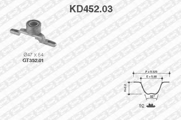 Комплект ремня ГРМ SNR KD452.03