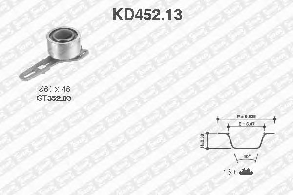 Комплект ремня ГРМ SNR KD452.13