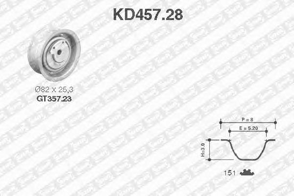 Комплект ремня ГРМ SNR KD457.28