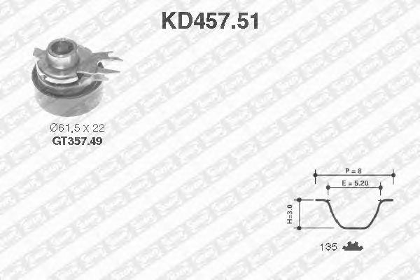 Комплект ремня ГРМ SNR KD457.51