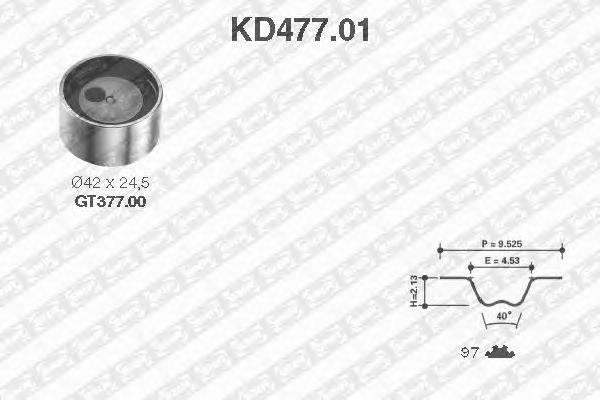 Комплект ремня ГРМ SNR KD477.01