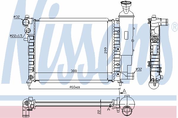 Радиатор, охлаждение двигателя NISSENS 61358