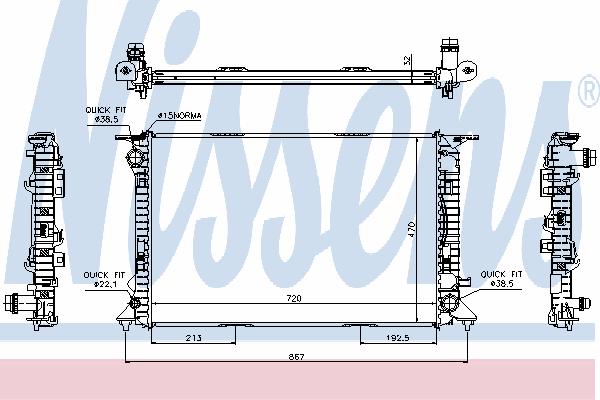Радиатор, охлаждение двигателя NISSENS 60317