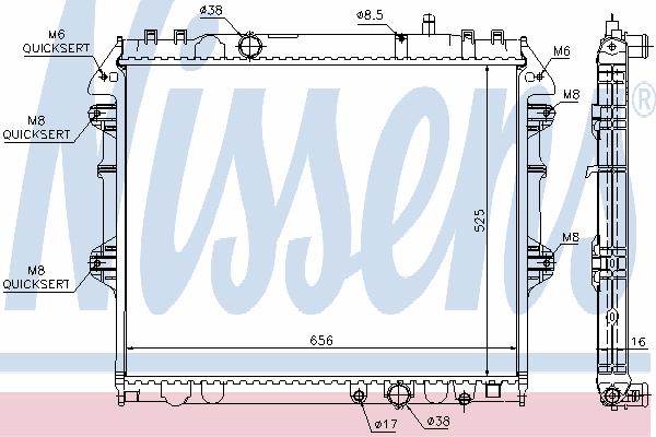 Радиатор, охлаждение двигателя NISSENS 64681