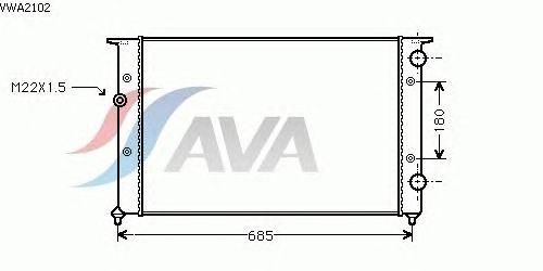 Радиатор, охлаждение двигателя AVA QUALITY COOLING VWA2102