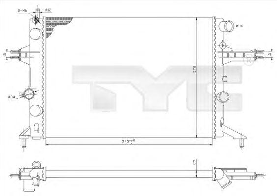 Радиатор, охлаждение двигателя TYC 725-0021