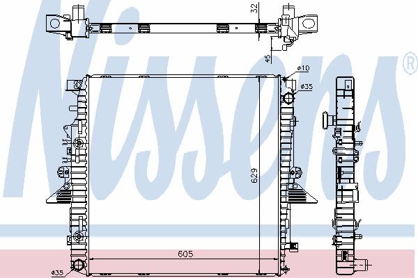 Радиатор, охлаждение двигателя NISSENS 64320A