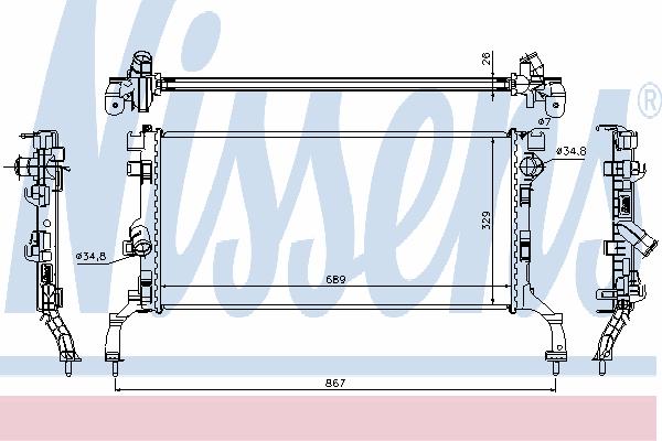 Радиатор, охлаждение двигателя NISSENS 637604