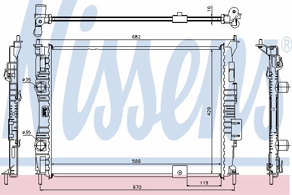 Радиатор, охлаждение двигателя NISSENS 67364