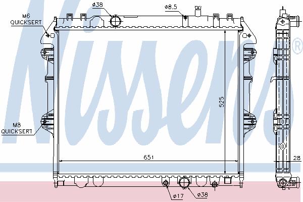 Радиатор, охлаждение двигателя NISSENS 646807