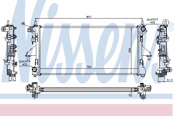 Радиатор, охлаждение двигателя NISSENS 63565