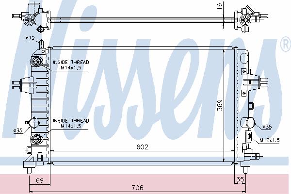 Радиатор, охлаждение двигателя NISSENS 630702