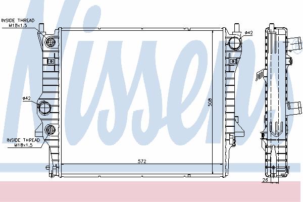 Радиатор, охлаждение двигателя NISSENS 66708