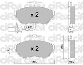 Тормозные колодки CIFAM 822-215-2