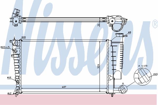 Радиатор, охлаждение двигателя NISSENS 61316A