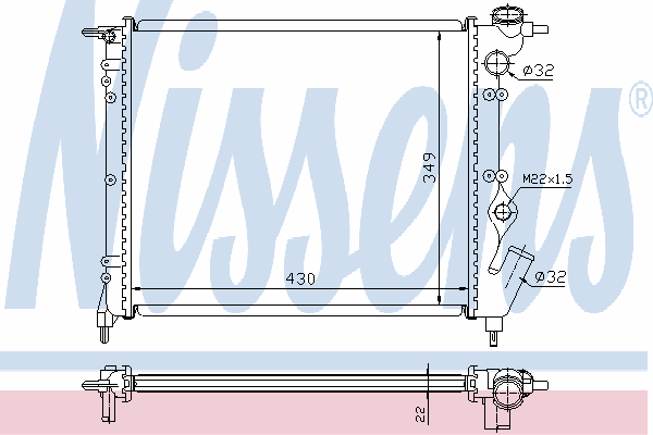 Радиатор, охлаждение двигателя NISSENS 63931