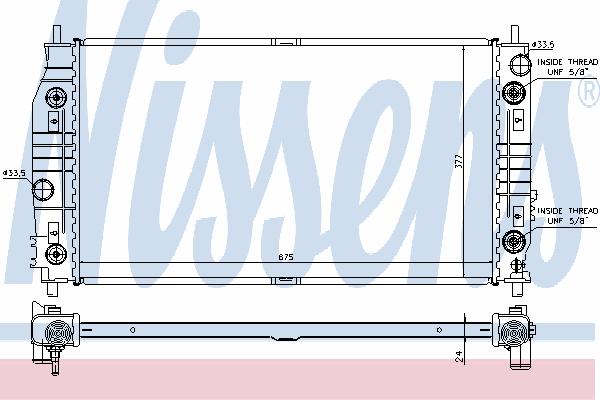 Радиатор, охлаждение двигателя NISSENS 69016