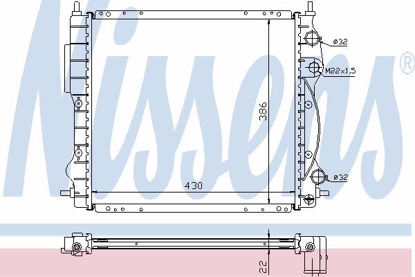 Радиатор, охлаждение двигателя NISSENS 63968A