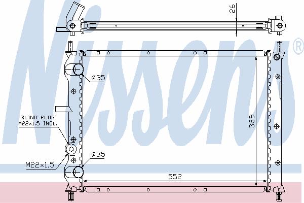 Радиатор, охлаждение двигателя NISSENS 61879A