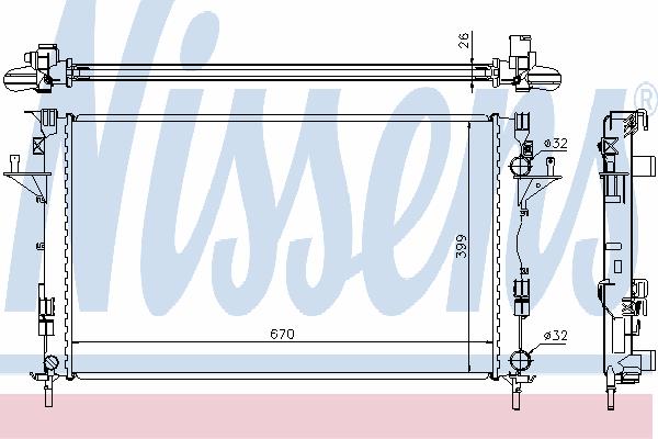 Радиатор, охлаждение двигателя NISSENS 63816