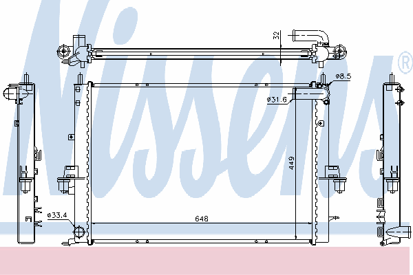 Радиатор, охлаждение двигателя NISSENS 64308A