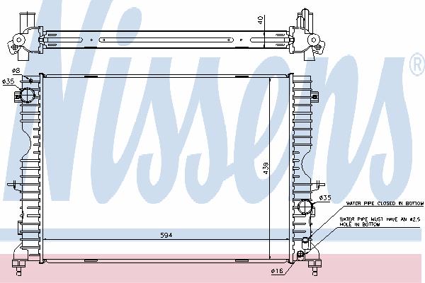 Радиатор, охлаждение двигателя NISSENS 64312A