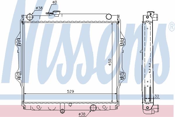 Радиатор, охлаждение двигателя NISSENS 64599A