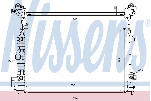 Радиатор, охлаждение двигателя NISSENS 63113A