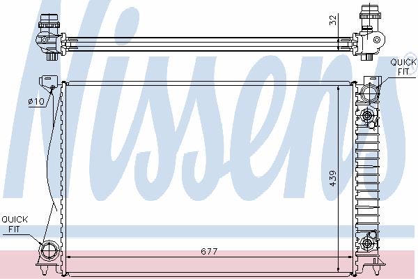Радиатор, охлаждение двигателя NISSENS 60232A