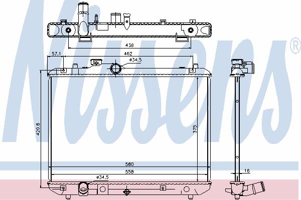 Радиатор, охлаждение двигателя NISSENS 69400