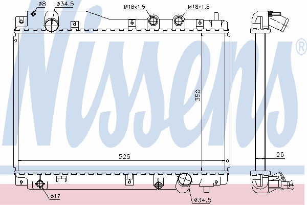 Радиатор, охлаждение двигателя NISSENS 68109