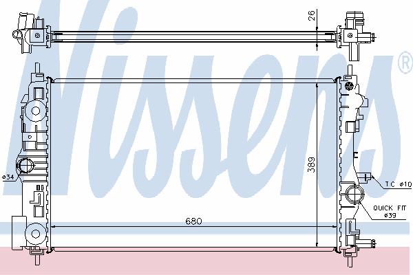 Радиатор, охлаждение двигателя NISSENS 630745