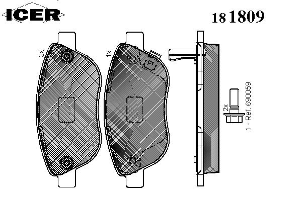 Тормозные колодки ICER 181809