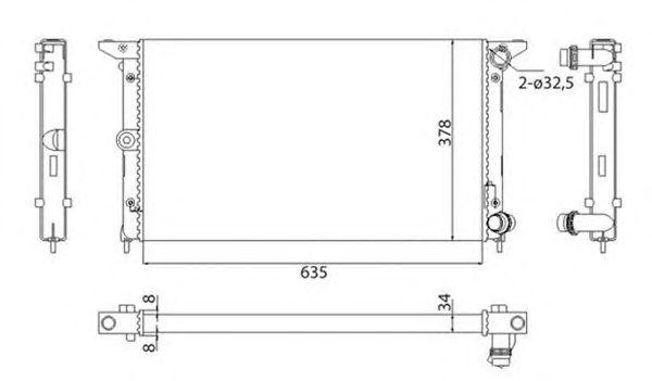 Радиатор, охлаждение двигателя MAGNETI MARELLI 350213844003