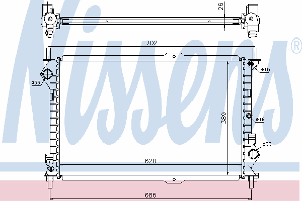 Радиатор, охлаждение двигателя NISSENS 62156A