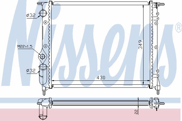 Радиатор, охлаждение двигателя NISSENS 63924