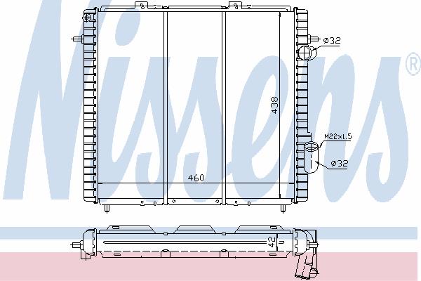 Радиатор, охлаждение двигателя NISSENS 63947