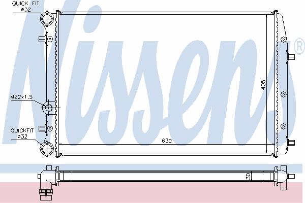 Радиатор, охлаждение двигателя NISSENS 67322