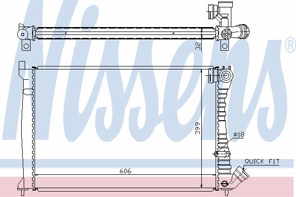Радиатор, охлаждение двигателя NISSENS 61398A